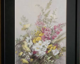 Mounted and framed Floral wall art, 20''x16'' framed, Hedgerow by Vernon Ward