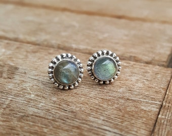 Sterling Silver Stud Earrings with Labradorite