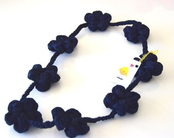 Collana/Big-flower yarn knitted long necklace