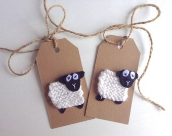 2x NZ Made Knitted Sheep Gift Tags, Love Gift Tags, Baby Gift Tags, Baby Shower Gift Tags, Any Occasion Gift Tags, Friendship Gift Tag