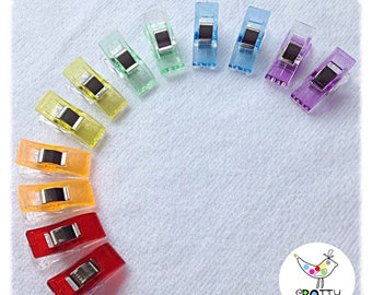 12 Rainbow coloured Sewing clips- instead of pins! UK