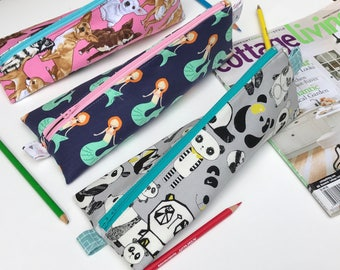 Dog Breeds, Mermaid, Pandas stationary case/ pouch/ bag ( Water Resistant fabric lining)