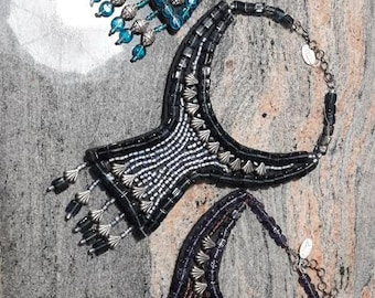 Necklace blue glass beads embroidered