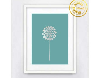 Printable art Digital Prints modern blue sliver flower wall art printable art, printable prints