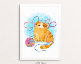 Cute Cat Watercolor, Cat Print, Pet Painting, Cat Art Print, Cat Lover Gift, Cat Shirt, Cat Mug, Cat Artwork, Cat Art Print, Cat Lover