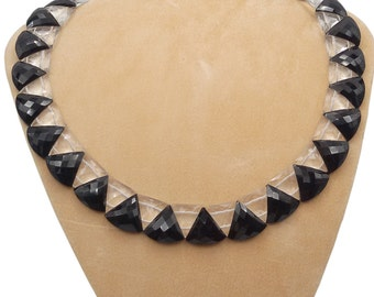 Stunning Crystal & Onyx Art Deco Style Necklace