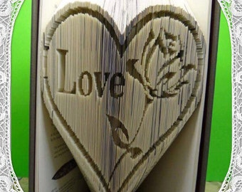 Love in Heart with Rose detail book folding art pattern Unusual unique family gift