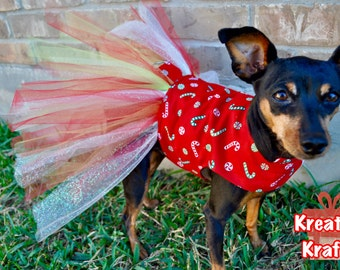 Candy Cane Tutu Dog Dress | Christmas Dress | Christmas Tutu Dress | Small Dog Costume | Large Dog Costume