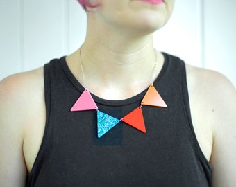 Unique Bunting Necklace Jewelry,  Minimalist colorful necklace- gift for her- christmas gift- triangle necklace