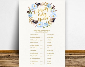 Boho Celebrity Baby Names Game, Baby Boy shower, Celebrity match game, Boho Baby Shower Game, Baby shower activities, Blue-BoHo