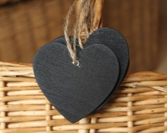 12 Pcs Mini Heart Chalkboard Blackboard With String Label & Tags