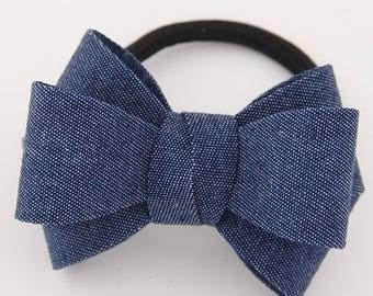 Dark Blue Jean  Bow knot Hair Tie - Japanese Kimono Bow Knot Inspired