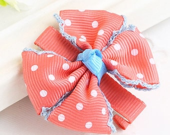 Cute Kid Watermelon Red Doted Bow Knot Hair Clip