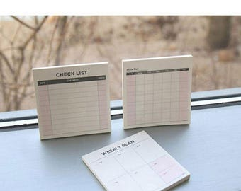 Small Cute Memo Pads- Weekly, Month, To Do Memo Notes - Stationary