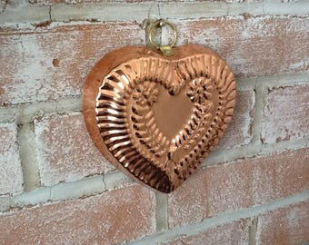 Vintage Copper Colored Heart Mold