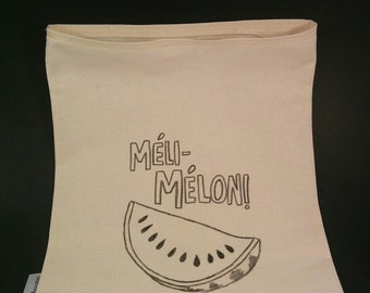 Vegetable bags, vegetable storage bags, eco-friendly, plastic free, raw cotton bag, grocer bags, méli-mélon, washable, reusable