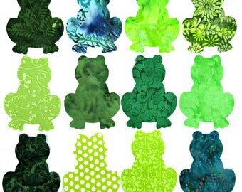 """Frog Iron On Applique Patch, 4.25"""", You Pick Color Scheme and Adhesive Backing, Animal Patch, Frog Quilt Accent"""