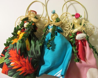 Handcrafted Hawaiian Straw Angel Christmas Tree Ornaments-Party Favors, Set of 3