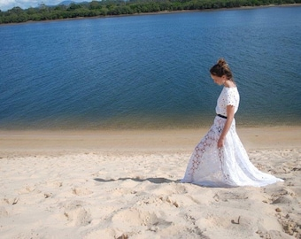 LOTUS WEDDING DRESS Vintage Crochet Bohemian wedding dress. Crochet maxi dress.Bridal gown.Lace Maxi dress.Festival dress.Boho wedding dress