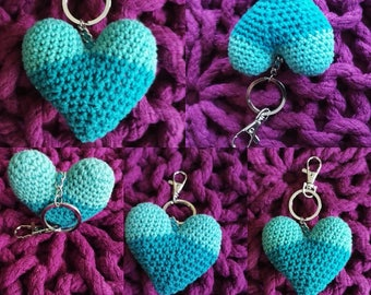 Heart crocheted keychain