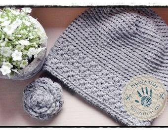 Little Toronto crochet cap and brooch set