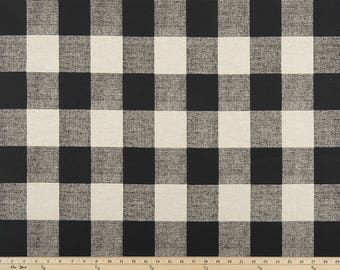 Anderson Black/Linen, Buffalo Plaid Print, Fabric by the Yard