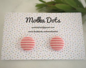 Pink Earrings. White Striped Earrings. Vintage Fabric. Fabric Covered Button Earrings. Stud Earrings. Clip On Earrings.