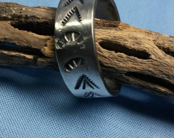 Sterling silver band Large native american style southwestern