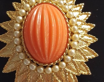 Vintage 1930's Emmons gold tone coral celluloid cabochon seed pearl domed  brooch