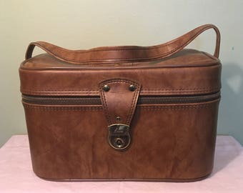 Airway Brown and Gold Train Case