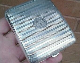 Clean Antique Solid Silver Cigarette Case - Birmingham 1916