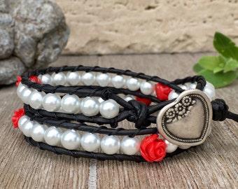 Double Wrap Leather Bracelet Rose Romance