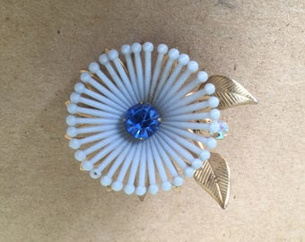 1960s Flower Brooch with Blue Jewel Gold Tone Kitsch Pin
