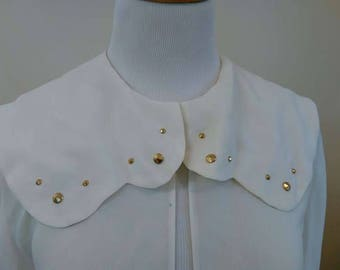 White Chiffon Cape Cardigan - Size 12 14 - Vintage