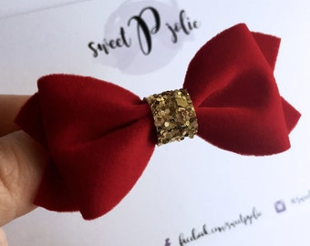 Red Velvet + Gold Glitter Hair Bow // Christmas Holiday Winter One Size Headband Hair Clip // Girls Large Newborn Baby Toddler Hair Bow