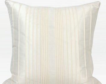 "Luxury White Striped Textured Pillow 20""X20"""