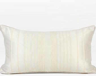 "Luxury White Striped Textured Pillow 12""X22"""
