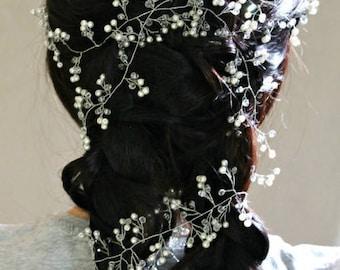 Wedding vine Prom hair Headband  babies breath boho bridal wreath halo silver headpiece Wedding crystal vine babys breath wreath