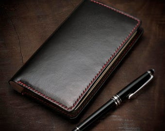 Hand-stitched Travelers notebook Leather Case in Black,  Initialized Handmade Leather Field Notes Moleskine Journal Cover