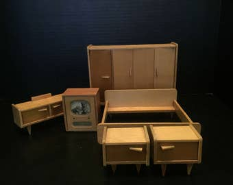 Vintage German MCM Bedroom Dollhouse Miniature 5pc Matching Set | Mid Century Modern Wood Bed, Nightstands, Vanity, Wardrobe, Television