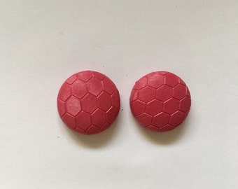 20mm Blush Pink Honeycomb Leatherette Studs • Faux Leather • Stud Earrings • Surgical Steel