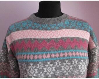 Vintage 90's Grey & Pink Fairisle Jumper Size 12