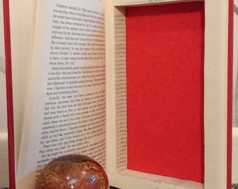 Hollow book safe secret compartment red felt lined hidden treasure stash box upcycled recycled repurposed