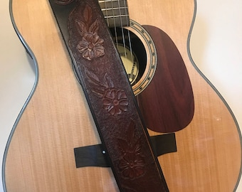 Custom Leather Guitar Strap - Desert Rose