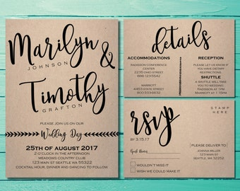 Rustic Wedding Invitations Suite | Shabby Chic Wedding Invites | Our Love Story | Boho Chic Wedding | Timeless Event | Vintage Wedding