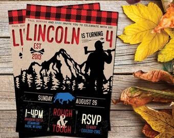Paul Bunyan Kids Birthday | Lumberjack Birthday Party |  Rough and Tough | Paul Bunyan and Babe Invite You | Red Plaid Invite | Wilderness