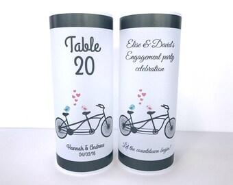 Table numbers,  Luminaries , birthday luminary, Wedding table centerpiece, wedding luminary, bicycle wedding, bike candle, bicycle theme,