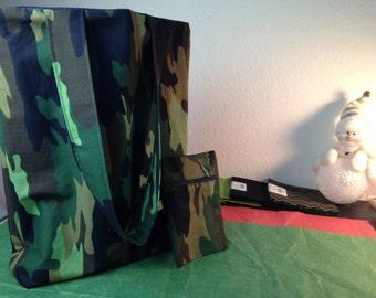 New Handmade Cotton/Denim Camouflage Reversible Tote Bag 15 x 12 - Matching Wristlet Key Fob