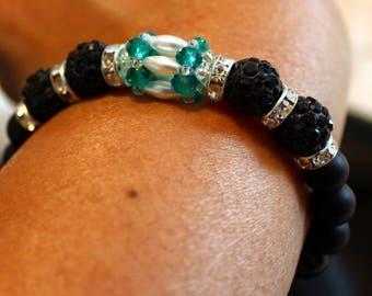 Cute Czech crystal disco ball Rhinestone, Black Onyx & pearl-beaded shamballa bracelet; beadweaving, handmade, black, blue, white, elegant