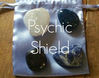Psychic Shield Gemstones to help protect your energy, with French Blue Satin Pouch